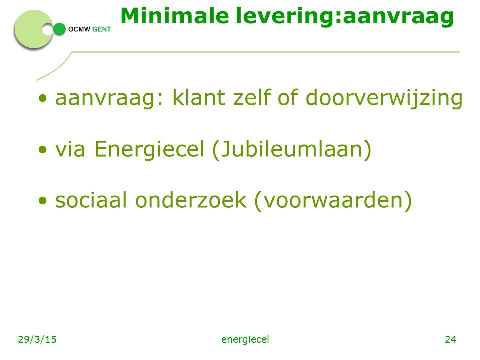 energiecel2429/3/15 Minimale levering:aanvraag aanvraag: klant zelf of doorverwijzing via Energiecel (Jubileumlaan) sociaal onderzoek (voorwaarden)