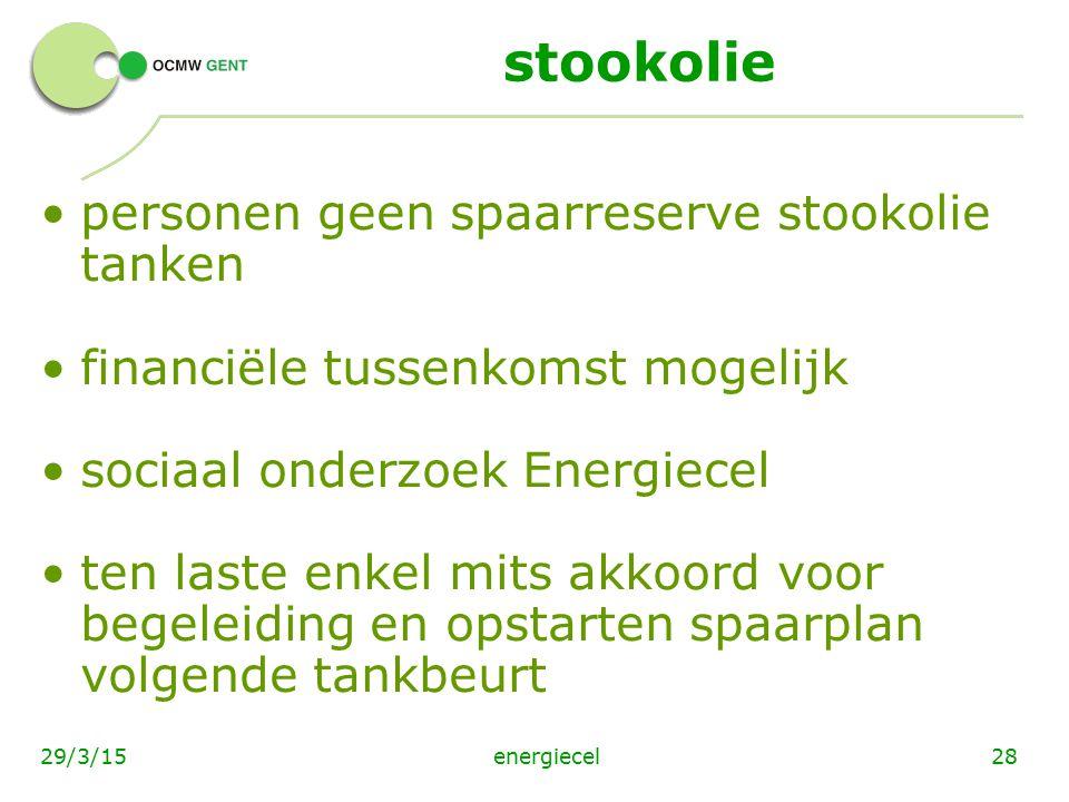 energiecel2829/3/15 stookolie personen geen spaarreserve stookolie tanken financiële tussenkomst mogelijk sociaal onderzoek Energiecel ten laste enkel