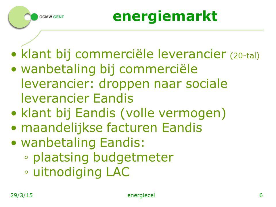 energiemarkt klant bij commerciële leverancier (20-tal) wanbetaling bij commerciële leverancier: droppen naar sociale leverancier Eandis klant bij Ean