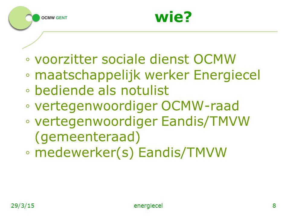 energiecel829/3/15 wie? ◦ voorzitter sociale dienst OCMW ◦ maatschappelijk werker Energiecel ◦ bediende als notulist ◦ vertegenwoordiger OCMW-raad ◦ v