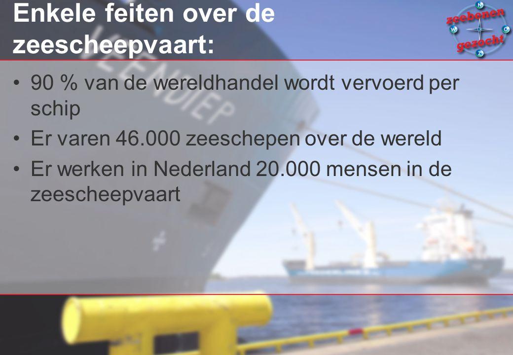 Enkele feiten over de zeescheepvaart: 90 % van de wereldhandel wordt vervoerd per schip Er varen 46.000 zeeschepen over de wereld Er werken in Nederla
