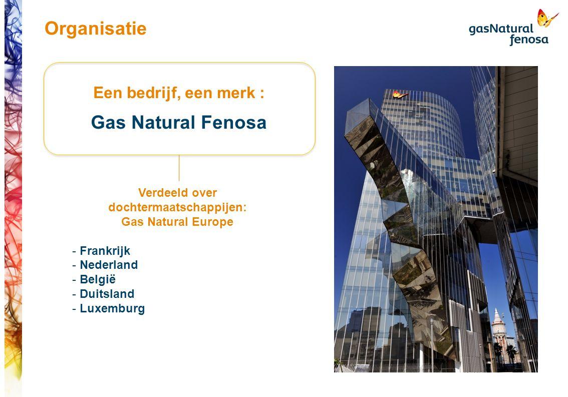 Een bedrijf, een merk : Gas Natural Fenosa Verdeeld over dochtermaatschappijen: Gas Natural Europe - Frankrijk - Nederland - België - Duitsland - Luxemburg Organisatie