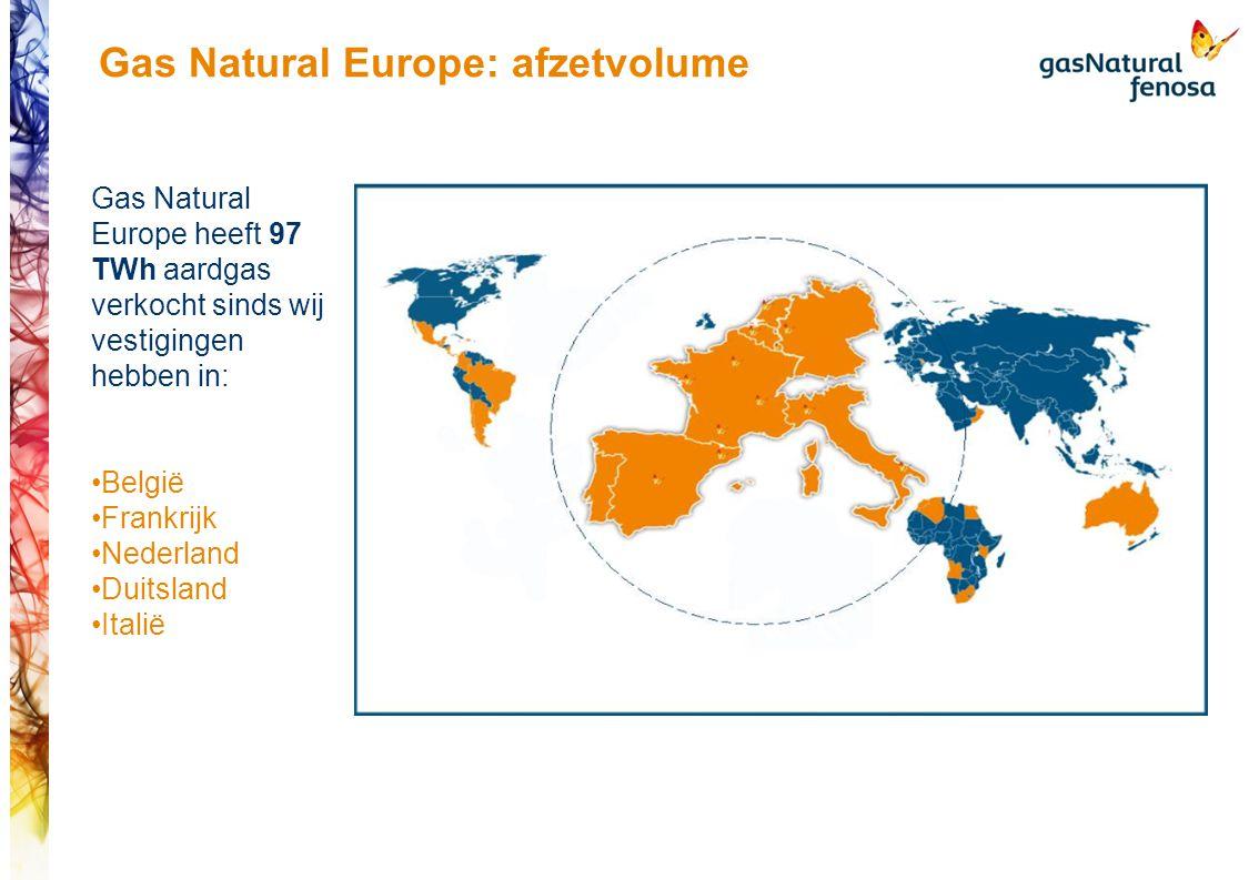 Gas Natural Europe: afzetvolume Gas Natural Europe heeft 97 TWh aardgas verkocht sinds wij vestigingen hebben in: België Frankrijk Nederland Duitsland Italië