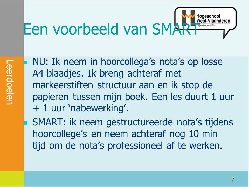 7 Een voorbeeld van SMART NU: Ik neem in hoorcollega's nota's op losse A4 blaadjes.