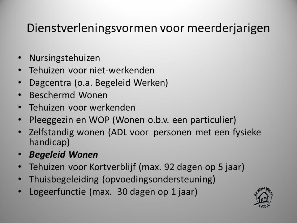 Dienstverleningsvormen voor meerderjarigen Nursingstehuizen Tehuizen voor niet-werkenden Dagcentra (o.a. Begeleid Werken) Beschermd Wonen Tehuizen voo