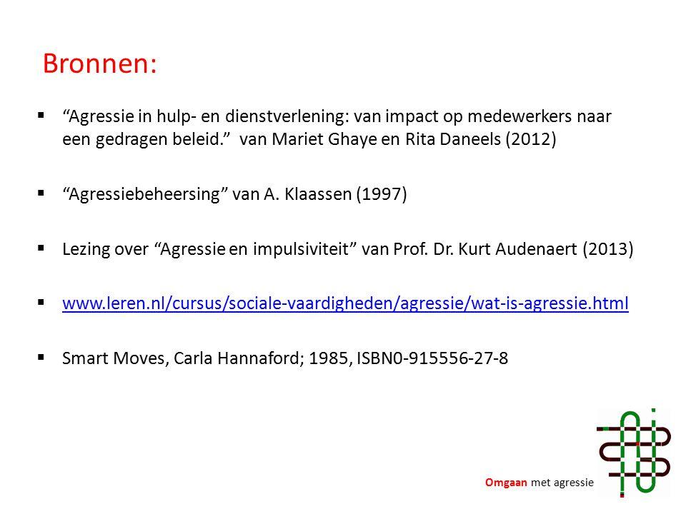 Bronnen:  Agressie in hulp- en dienstverlening: van impact op medewerkers naar een gedragen beleid. van Mariet Ghaye en Rita Daneels (2012)  Agressiebeheersing van A.