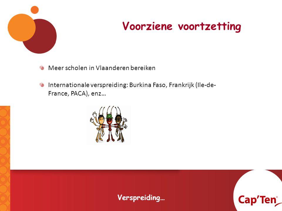 Voorziene voortzetting Verspreiding… Meer scholen in Vlaanderen bereiken Internationale verspreiding: Burkina Faso, Frankrijk (Ile-de- France, PACA), enz…