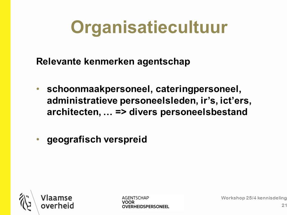 Organisatiecultuur Workshop 25/4 kennisdeling 21 Relevante kenmerken agentschap schoonmaakpersoneel, cateringpersoneel, administratieve personeelslede