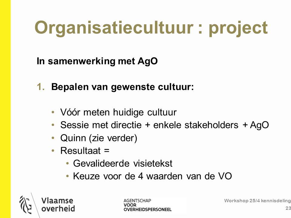 Organisatiecultuur : project Workshop 25/4 kennisdeling 23 In samenwerking met AgO 1.Bepalen van gewenste cultuur: Vóór meten huidige cultuur Sessie m