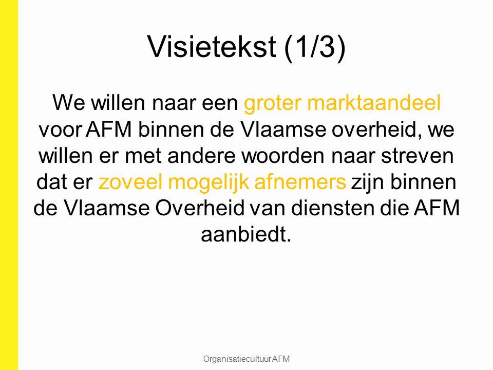 Visietekst (1/3) We willen naar een groter marktaandeel voor AFM binnen de Vlaamse overheid, we willen er met andere woorden naar streven dat er zovee