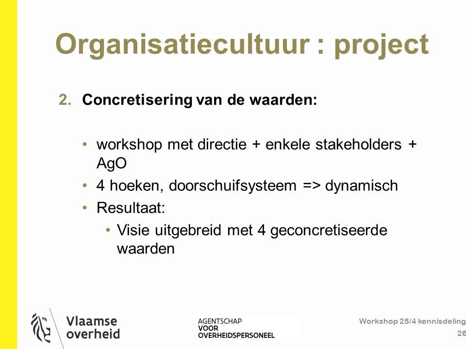 Organisatiecultuur : project Workshop 25/4 kennisdeling 26 2.Concretisering van de waarden: workshop met directie + enkele stakeholders + AgO 4 hoeken