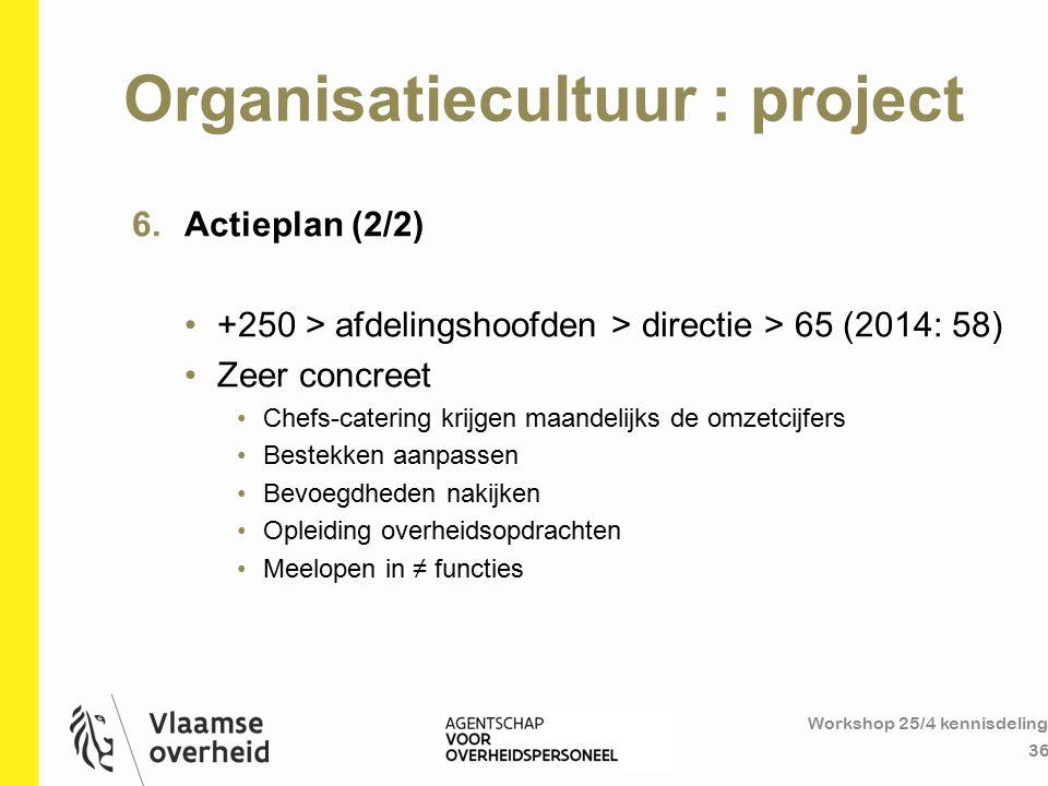 Organisatiecultuur : project Workshop 25/4 kennisdeling 36 6.Actieplan (2/2) +250 > afdelingshoofden > directie > 65 (2014: 58) Zeer concreet Chefs-ca