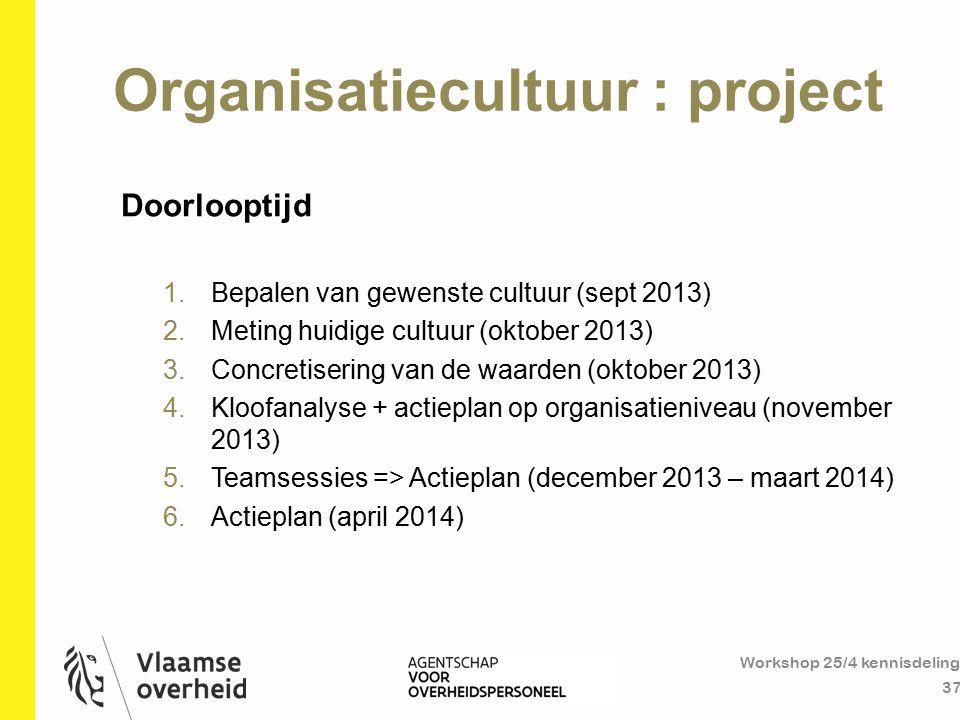 Organisatiecultuur : project Workshop 25/4 kennisdeling 37 Doorlooptijd 1.Bepalen van gewenste cultuur (sept 2013) 2.Meting huidige cultuur (oktober 2
