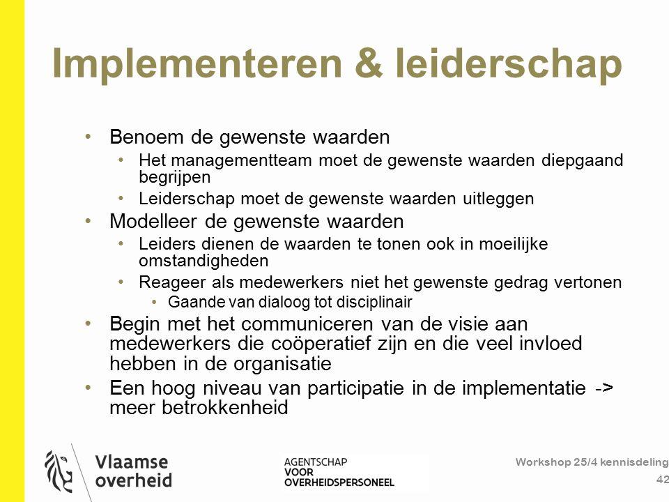 Implementeren & leiderschap Workshop 25/4 kennisdeling 42 Benoem de gewenste waarden Het managementteam moet de gewenste waarden diepgaand begrijpen L