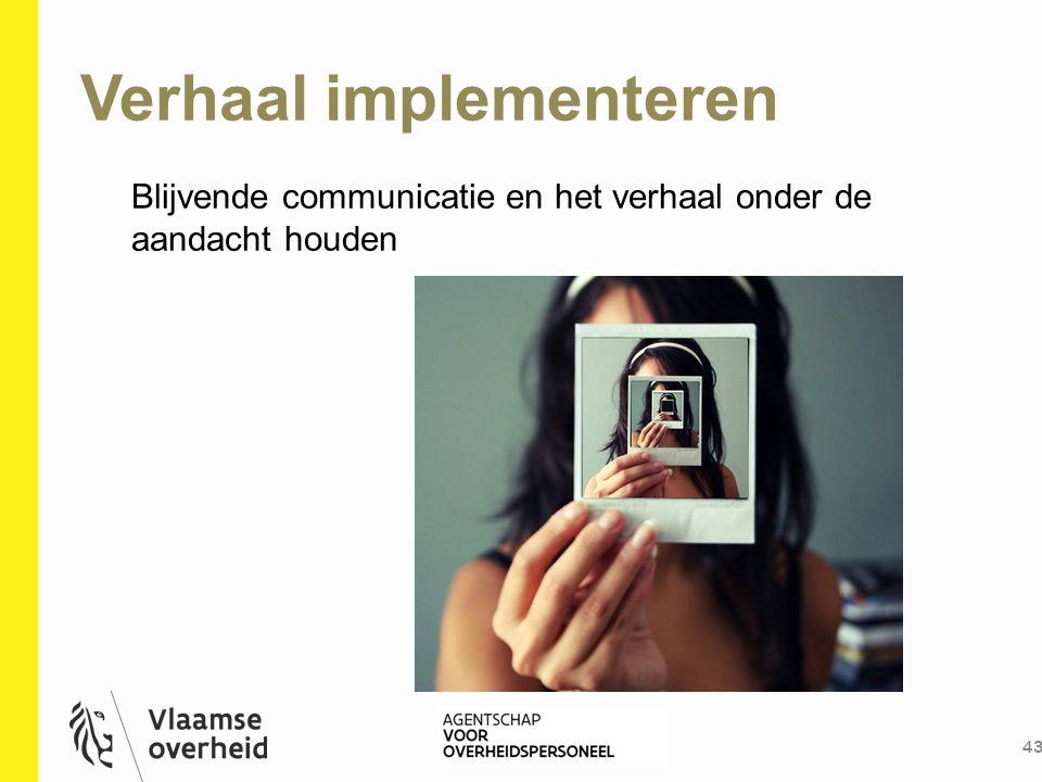 Verhaal implementeren 43 Blijvende communicatie en het verhaal onder de aandacht houden