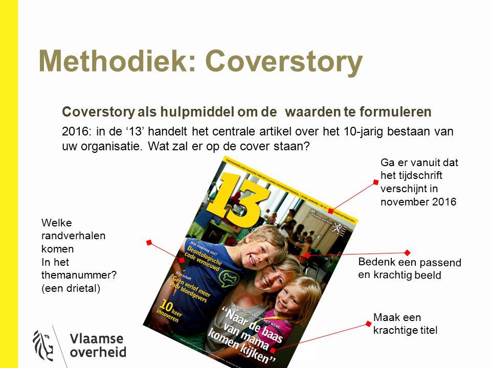 Methodiek: Coverstory 9 Coverstory als hulpmiddel om de waarden te formuleren 2016: in de '13' handelt het centrale artikel over het 10-jarig bestaan