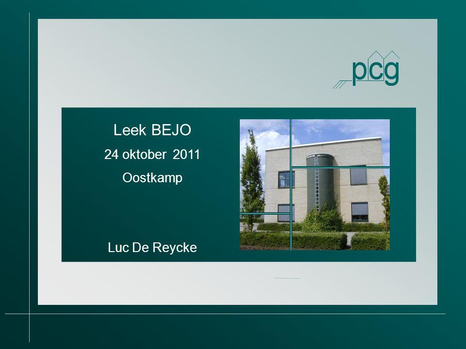 Provinciaal Proefcentrum voor de Groenteteelt Oost- Vlaanderen vzw Leek BEJO 24 oktober 2011 Oostkamp Luc De Reycke
