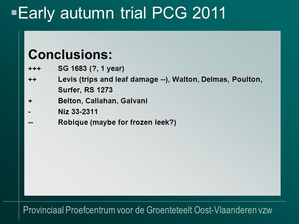 Provinciaal Proefcentrum voor de Groenteteelt Oost-Vlaanderen vzw Conclusions: +++SG 1683 ( , 1 year) ++Levis (trips and leaf damage --), Walton, Delmas, Poulton, Surfer, RS 1273 +Belton, Callahan, Galvani -Niz 33-2311 --Robique (maybe for frozen leek )  Early autumn trial PCG 2011
