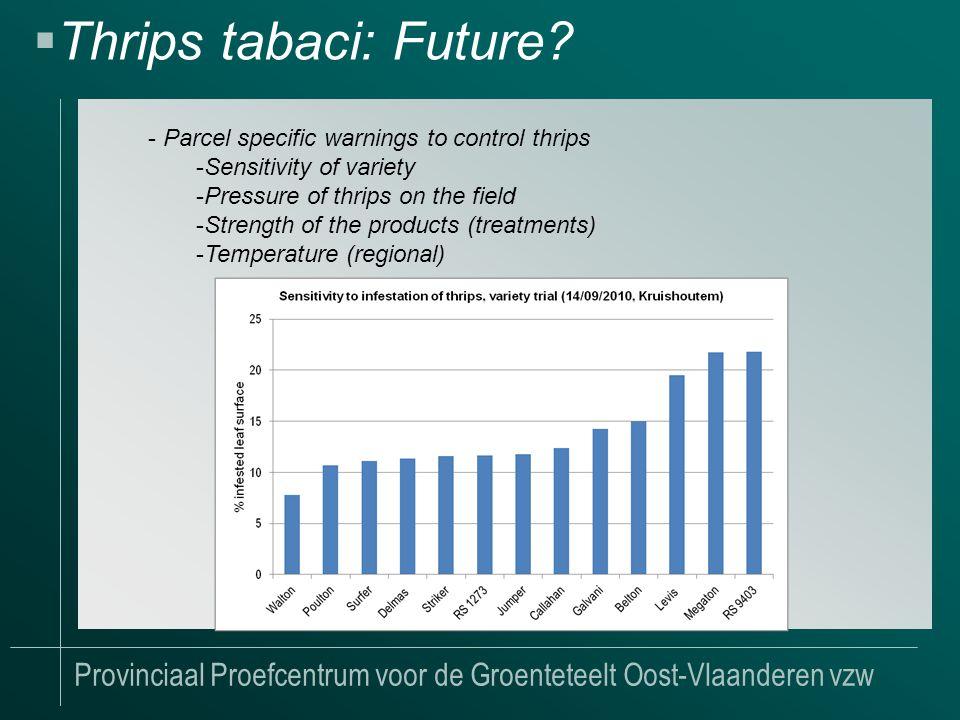 Provinciaal Proefcentrum voor de Groenteteelt Oost-Vlaanderen vzw  Thrips tabaci: Future.