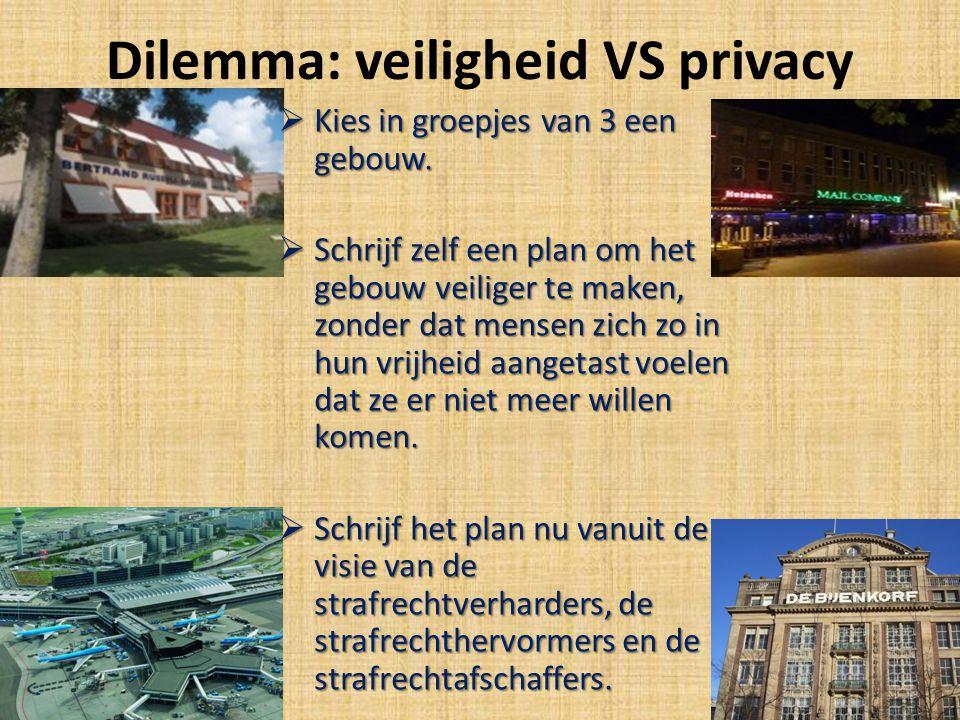 Dilemma: veiligheid VS privacy  Kies in groepjes van 3 een gebouw.