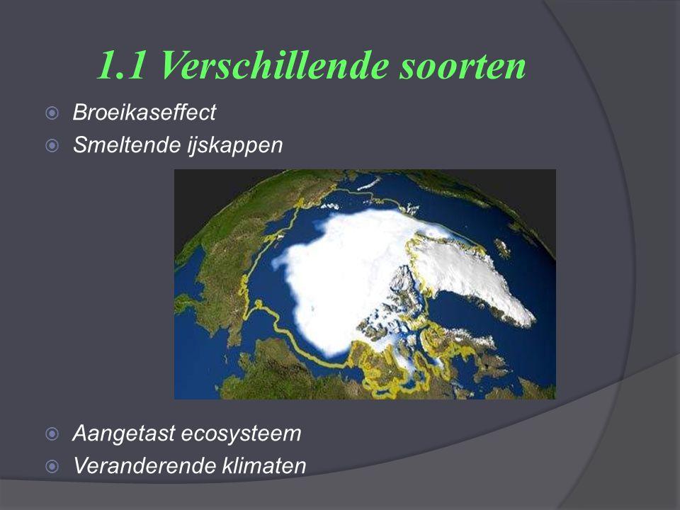 1.1 Verschillende soorten  Broeikaseffect  Smeltende ijskappen  Aangetast ecosysteem  Veranderende klimaten
