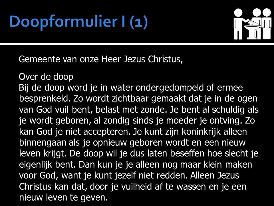 Gemeente van onze Heer Jezus Christus, Over de doop Bij de doop word je in water ondergedompeld of ermee besprenkeld. Zo wordt zichtbaar gemaakt dat j