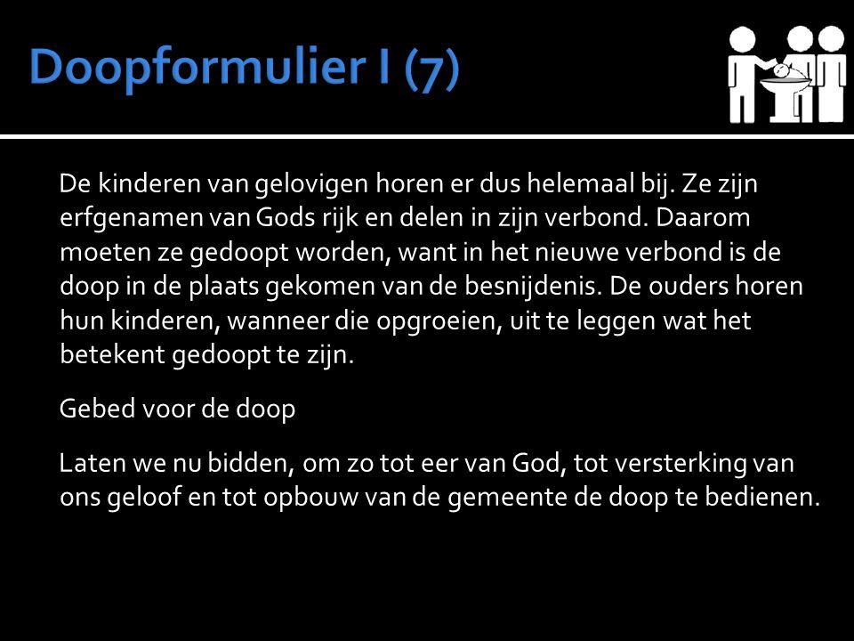 De kinderen van gelovigen horen er dus helemaal bij. Ze zijn erfgenamen van Gods rijk en delen in zijn verbond. Daarom moeten ze gedoopt worden, want