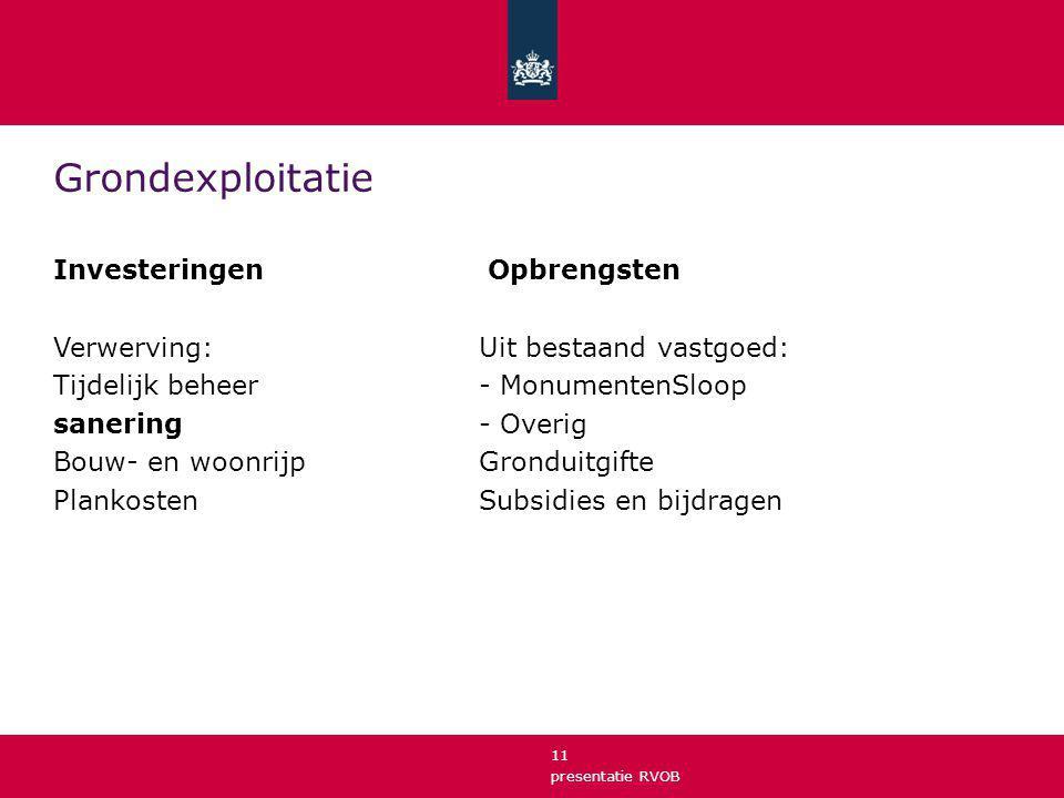 presentatie RVOB 11 Grondexploitatie Investeringen Opbrengsten Verwerving: Uit bestaand vastgoed: Tijdelijk beheer- MonumentenSloop sanering- Overig B