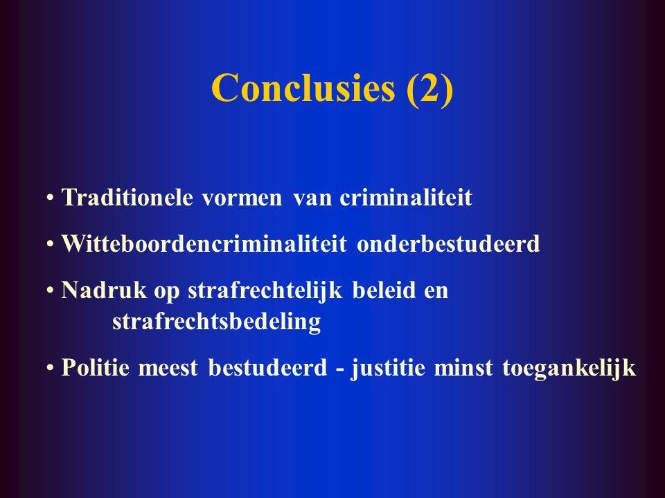 Conclusies (1) Sterke stijging aantal onderzoeken onderzoek op bestelling weinig theorievorming, veel beleidsondersteuning weinig fundamenteel onderzoek meer doctoraten criminologie