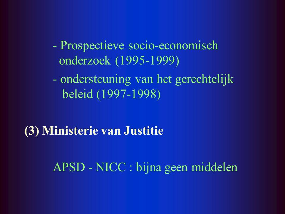 - Prospectieve socio-economisch onderzoek (1995-1999) - ondersteuning van het gerechtelijk beleid (1997-1998) (3) Ministerie van Justitie APSD - NICC : bijna geen middelen