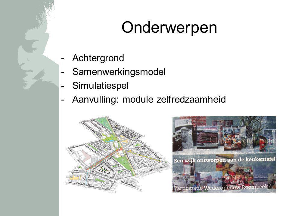 Onderwerpen -Achtergrond -Samenwerkingsmodel -Simulatiespel -Aanvulling: module zelfredzaamheid