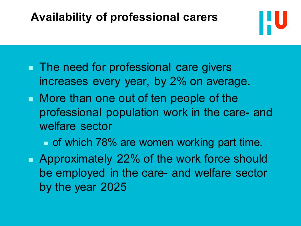Availability of professional carers n The need for professional care givers increases every year, by 2% on average.