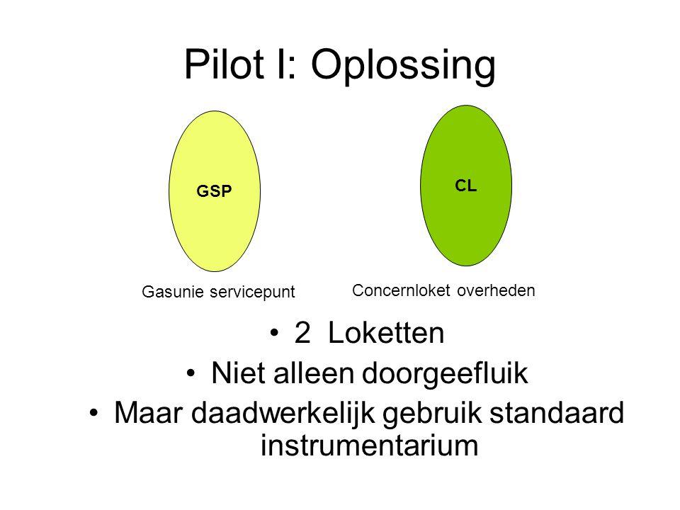 Pilot I: Oplossing 2 Loketten Niet alleen doorgeefluik Maar daadwerkelijk gebruik standaard instrumentarium GSP CL Gasunie servicepunt Concernloket overheden