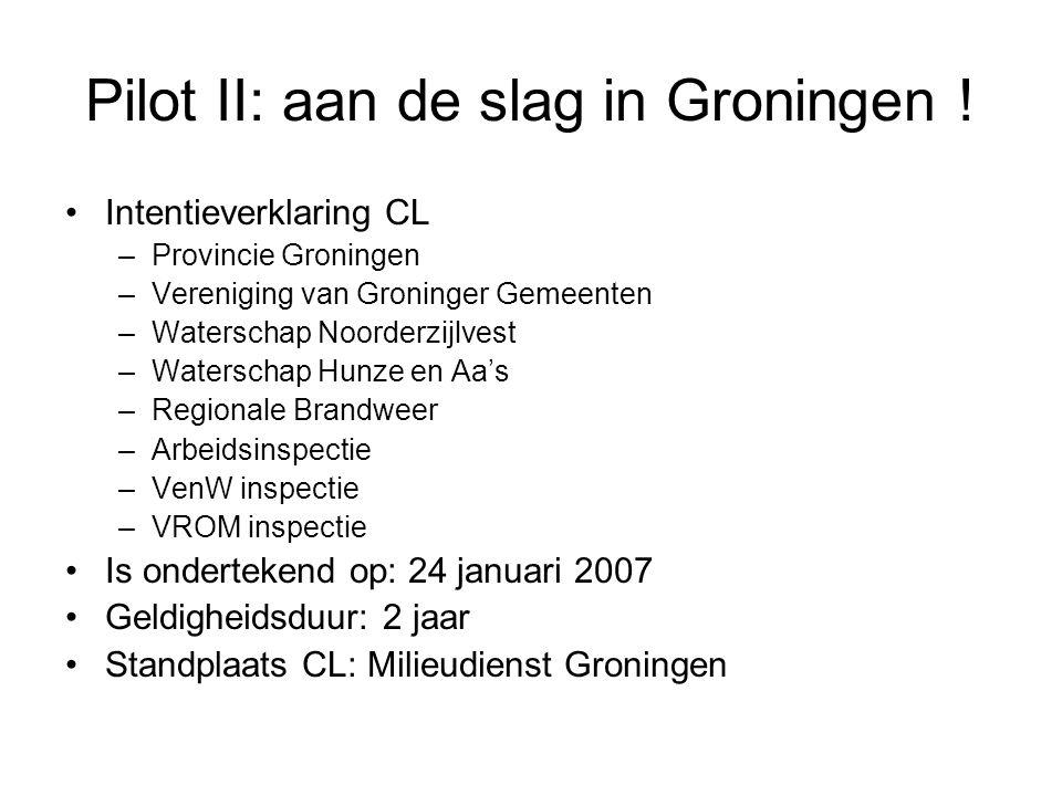 Pilot II: aan de slag in Groningen ! Intentieverklaring CL –Provincie Groningen –Vereniging van Groninger Gemeenten –Waterschap Noorderzijlvest –Water