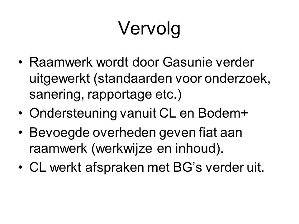 Vervolg Raamwerk wordt door Gasunie verder uitgewerkt (standaarden voor onderzoek, sanering, rapportage etc.) Ondersteuning vanuit CL en Bodem+ Bevoeg