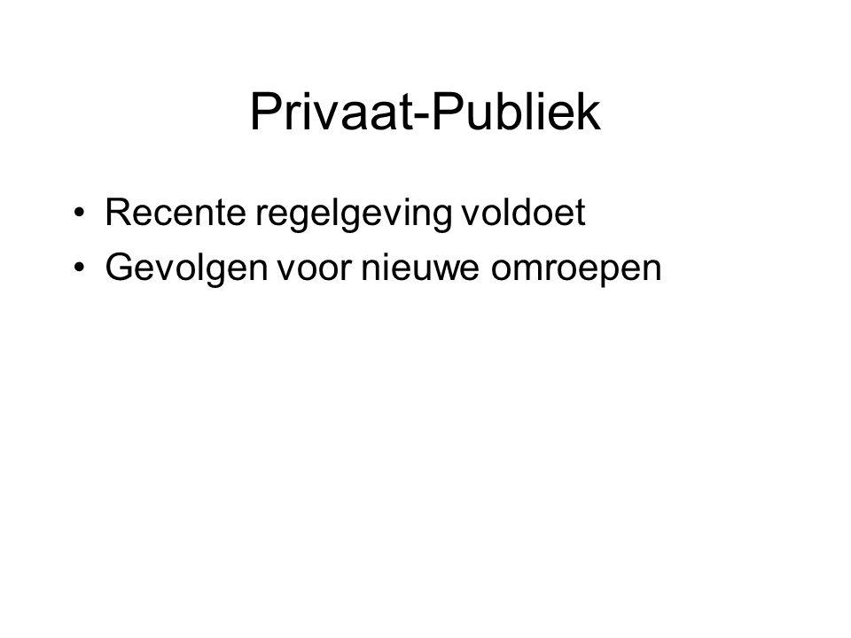 Privaat-Publiek Recente regelgeving voldoet Gevolgen voor nieuwe omroepen
