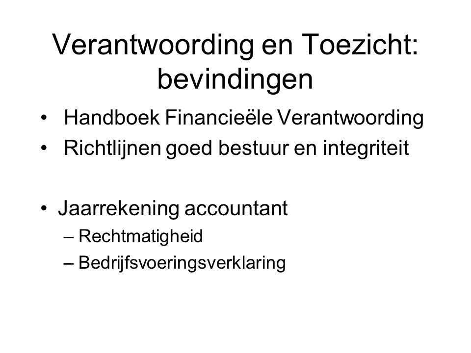 Verantwoording en Toezicht: bevindingen Handboek Financieële Verantwoording Richtlijnen goed bestuur en integriteit Jaarrekening accountant –Rechtmatigheid –Bedrijfsvoeringsverklaring