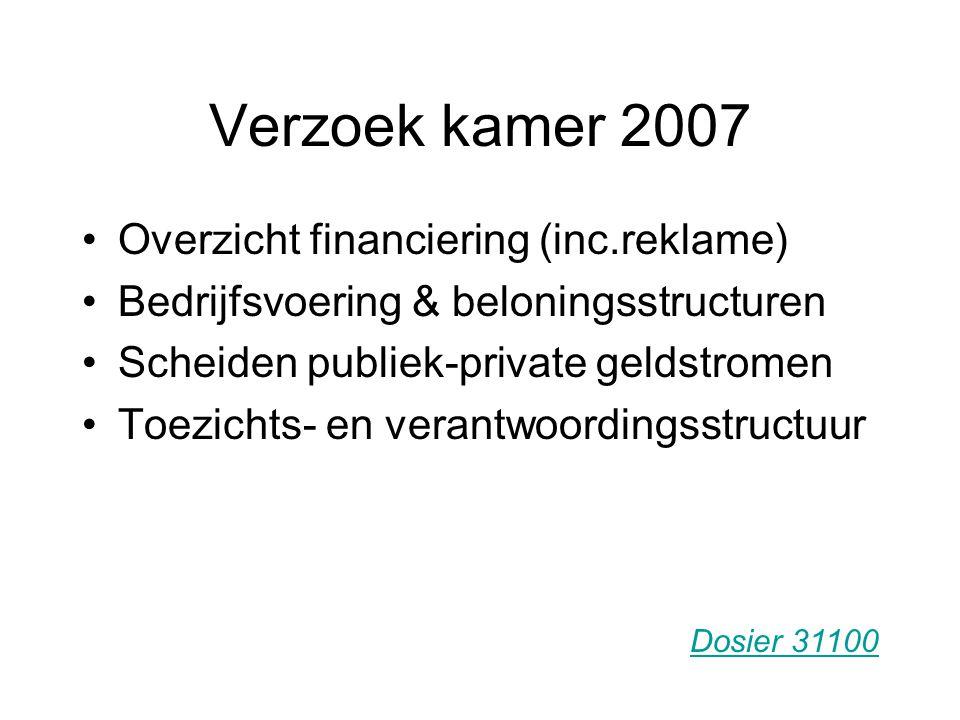 Verzoek kamer 2007 Overzicht financiering (inc.reklame) Bedrijfsvoering & beloningsstructuren Scheiden publiek-private geldstromen Toezichts- en verantwoordingsstructuur Dosier 31100