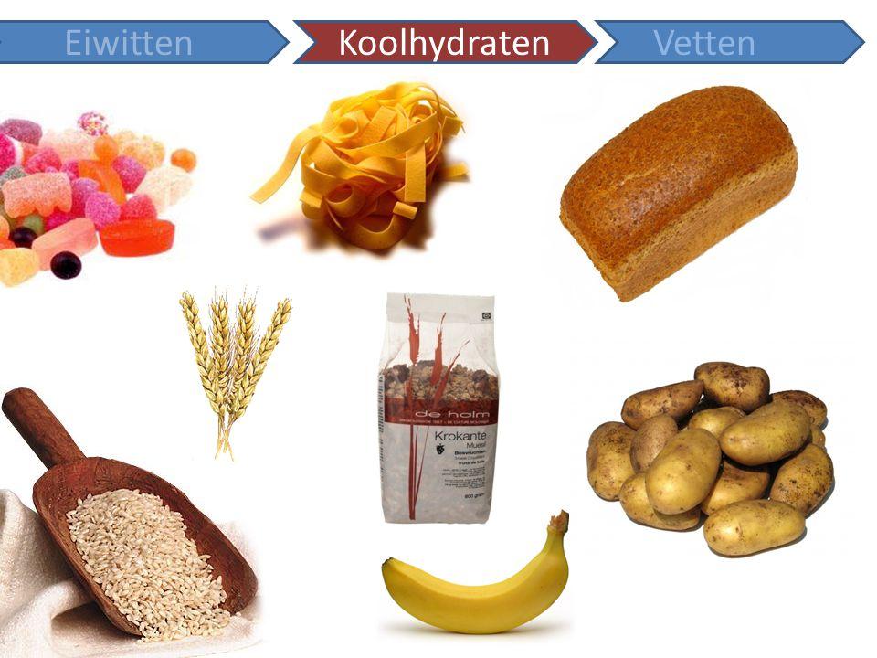 Koolhydraten Kunnen worden ingedeeld in: -Monosachariden: glucose en fructose -Disachariden: sacharose, maltose -Polysachariden: zetmeel (amylose) Koolhydraten zijn belangrijke brandstoffen in je lichaam: 1 gram koolhydraat levert 17 kJ energie Koolhydraten kunnen ook een rol spelen als bouwstof.