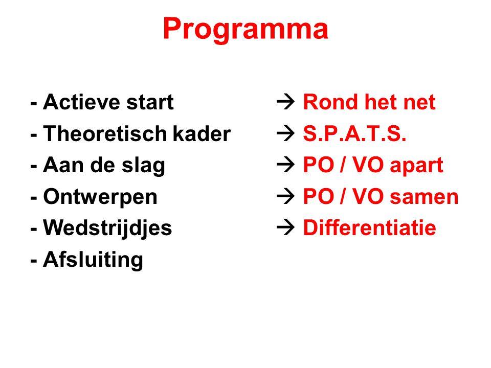 Programma - Actieve start  Rond het net - Theoretisch kader  S.P.A.T.S. - Aan de slag  PO / VO apart - Ontwerpen  PO / VO samen - Wedstrijdjes  D