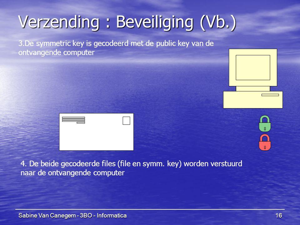 Sabine Van Canegem - 3BO - Informatica16 Verzending : Beveiliging (Vb.) 4. De beide gecodeerde files (file en symm. key) worden verstuurd naar de ontv