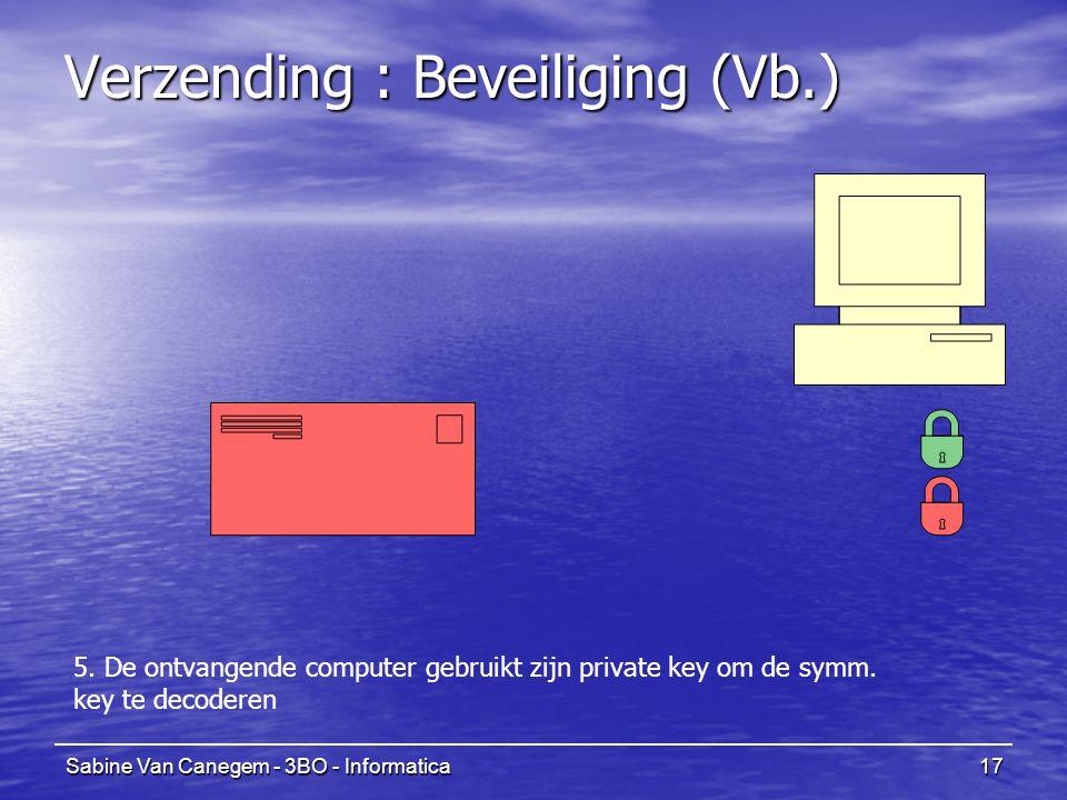 Sabine Van Canegem - 3BO - Informatica17 Verzending : Beveiliging (Vb.) 5. De ontvangende computer gebruikt zijn private key om de symm. key te decode