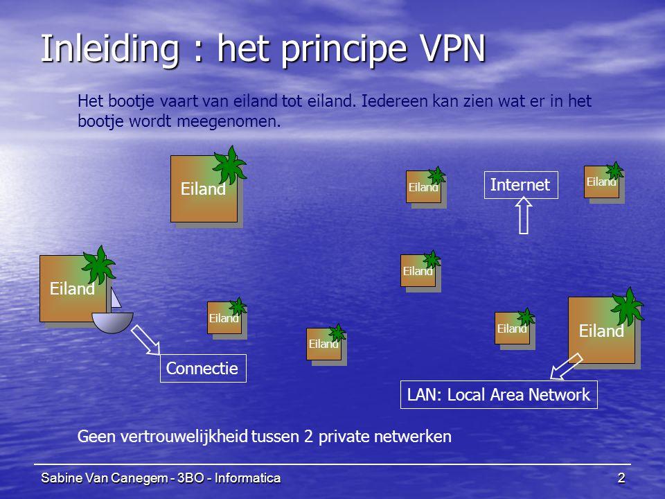 Sabine Van Canegem - 3BO - Informatica3 Eiland Inleiding : het principe VPN Eiland Een brug bouwen en onderhouden is duur Internet LAN: Local Area Network Leased Lines Er is nood aan een veilige manier om kantoren te verbinden Maar hoe groter de afstand, hoe hoger de kosten.