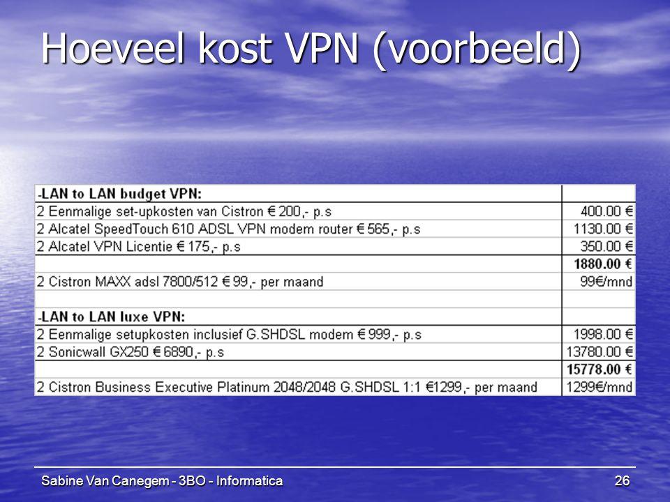 Sabine Van Canegem - 3BO - Informatica26 Hoeveel kost VPN (voorbeeld)