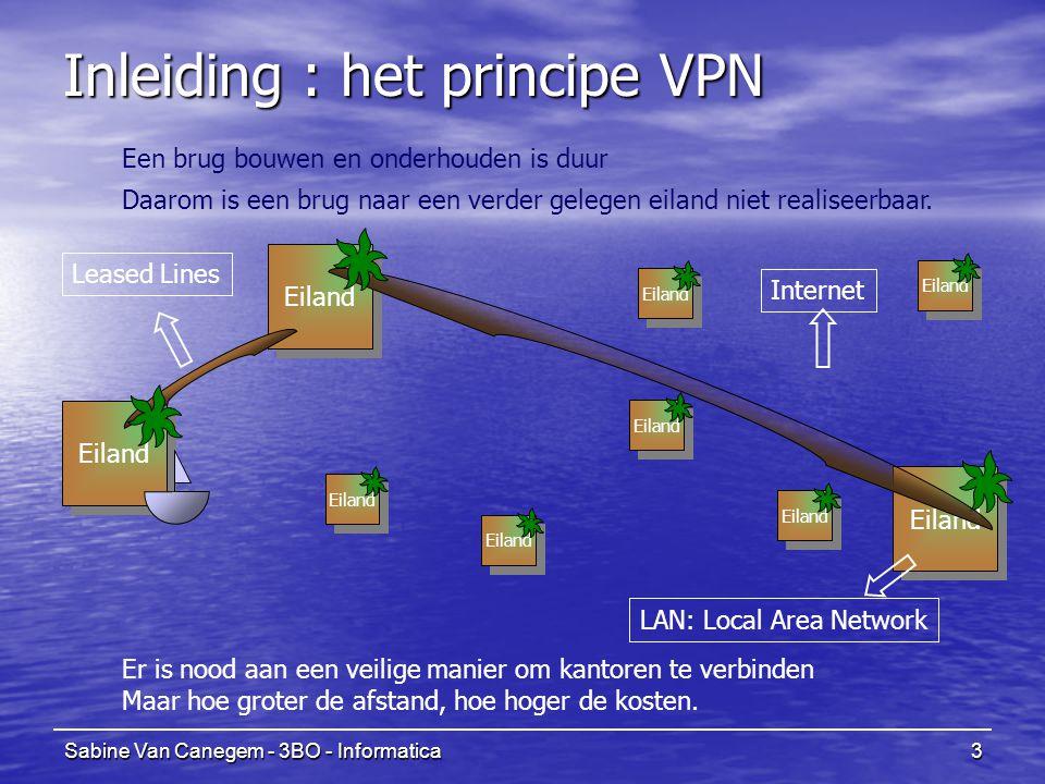 Sabine Van Canegem - 3BO - Informatica3 Eiland Inleiding : het principe VPN Eiland Een brug bouwen en onderhouden is duur Internet LAN: Local Area Net