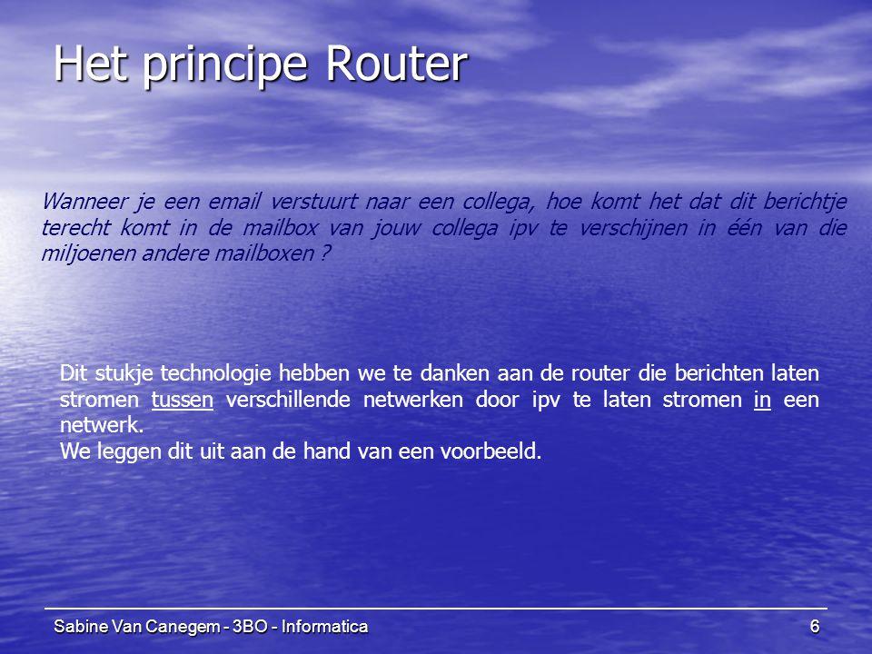Sabine Van Canegem - 3BO - Informatica6 Het principe Router Wanneer je een email verstuurt naar een collega, hoe komt het dat dit berichtje terecht komt in de mailbox van jouw collega ipv te verschijnen in één van die miljoenen andere mailboxen .