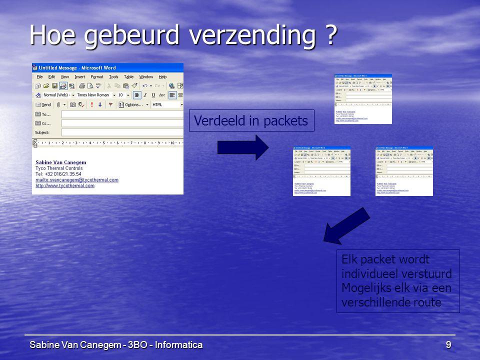 Sabine Van Canegem - 3BO - Informatica9 Hoe gebeurd verzending ? Verdeeld in packets Elk packet wordt individueel verstuurd Mogelijks elk via een vers