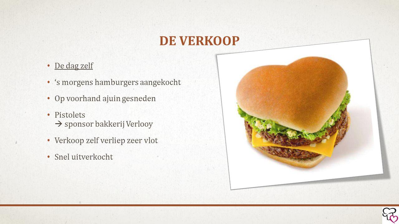 DE VERKOOP De dag zelf 's morgens hamburgers aangekocht Op voorhand ajuin gesneden Pistolets  sponsor bakkerij Verlooy Verkoop zelf verliep zeer vlot