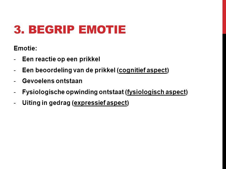 3. BEGRIP EMOTIE Emotie: -Een reactie op een prikkel -Een beoordeling van de prikkel (cognitief aspect) -Gevoelens ontstaan -Fysiologische opwinding o