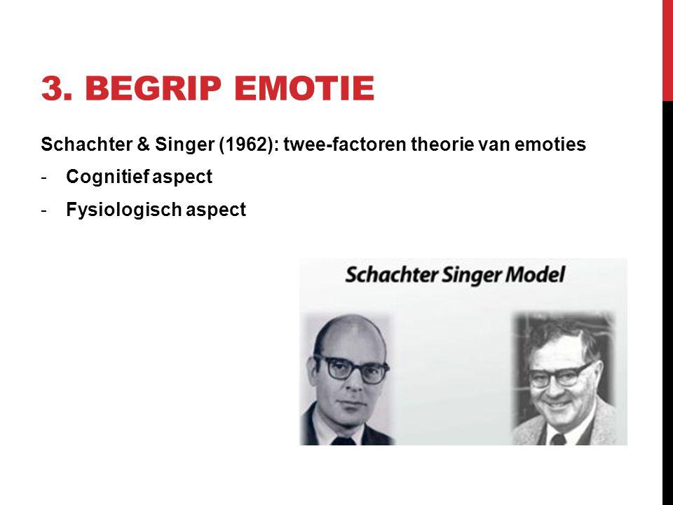 3. BEGRIP EMOTIE Schachter & Singer (1962): twee-factoren theorie van emoties -Cognitief aspect -Fysiologisch aspect